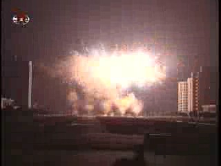 Fireworks over Pyongyang skies. (Photo: KCTV)