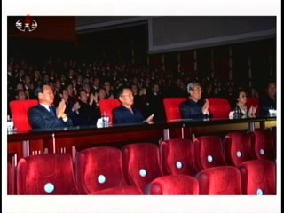 Enjoying the performance at the North Hwanghae Provincial Art Theater