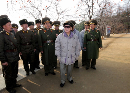 Kim Jong-il grins touring an inspection of KPA Unit 109 (Photo: KCNA)