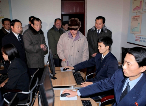 Kim Jong Il tours the Chongjin University of Mining and Metallurgy's E-library December 2009 (Photo: KCNA).