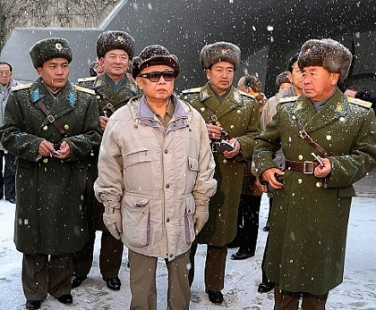Ri Pyong Chol (right) accompanies Kim Jong Il on a KPA Air Force field inspection in December 2008