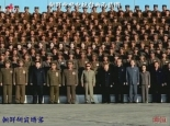 A commemorative photo taken as part of KPA Unit 851's live fire exercises.  Among the personalities in the photograph are: Kim Kyong Hui (2nd R), DPRK Premier Choe Yong Rim (5th R), GSD Chief VMAR Ri Yong Ho (5th L) and CMC Vice Chairman Gen. Kim Jong Un (3rd L) (photo: KCNA)