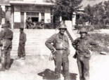"Then LTC Edgar J. Treacy, commander 3-5 CAV, and newly commissioned 2LT Wallace E. ""Nellie"" Nelson, I Company 3-5 CAV, in front of a school used for billeting. LTC Treacy was captured at Chipyong-ni on 15 February, 1951 and died while a Prisoner of War.  (Photo: James K. Hughes & 1cda.org)"