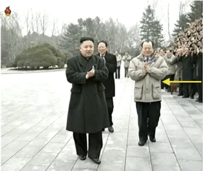 Pak To Chun (annotated) with Kim Jong Un and Hong Sung Mu, attending a commemorative photo session with scientists, officials, technicians and KPA service members who participated in or contributed to the DPRK's third experimental nuclear detonation in February 2012 (Photo: KCTV screengrab).