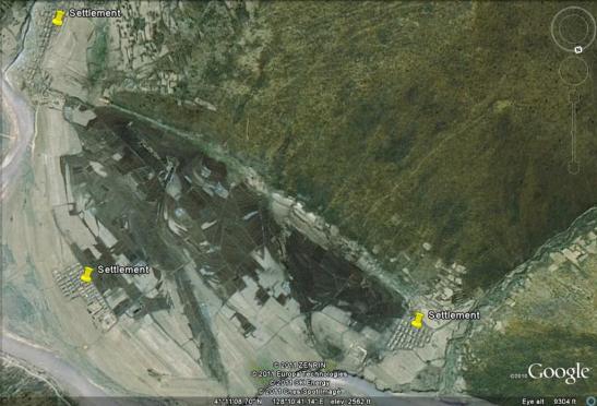 Isolated settlements near Cho'sun-ri, Yanggang Province (Photo: Google image)