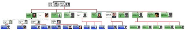 Graphic chart illustrating Jang Song Taek's familial links (Photo: NK Leadership Watch)