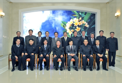 Han Kwang Sang (standing, 3rd R) attended late leader Kim Jong Il's meeting with PRC Ambassador to the DPRK Liu Hongcai, held  on 31 October 2011 (Photo: PRC Embassy in the DPRK).