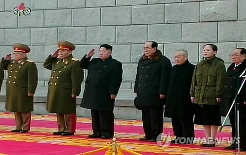 Members of the DPRK central leadership attend a funeral ceremony for Kim Jong Il in the plaza outside Ku'msusan Memorial Hall on 28 December 2011.  Seen in this image (L-R) are: VMar Kim Yong Chun; VMar Ri Yong Ho; Kim Jong Un; Kim Yong Nam; Choe Yong Rim; Kim Yo Jong; and Jon Pyong Ho (Photo: KCNA-Yonhap)