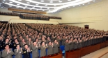 Members of the KPA Party Committee applaud during its party conference on 26 March 2012 at the 25 April House of Culture in Pyongyang.  The party conference was convened to elect delegates (party representatives) to the 4th Korean Workers' Party Conference in the middle of April 2012.  (Photo: KCNA)
