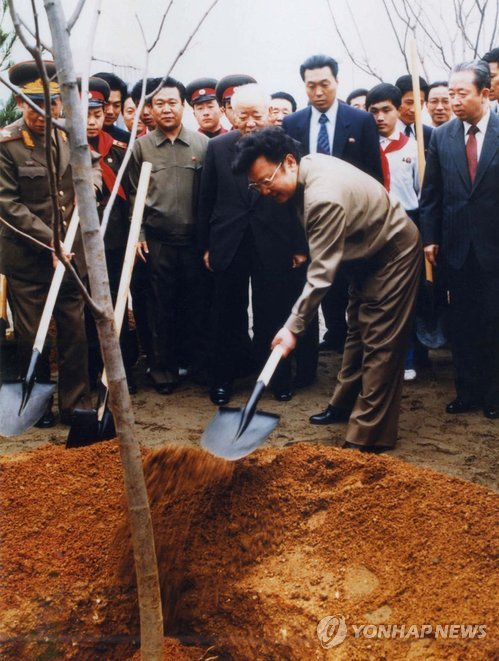 Kim Jong Il (2nd R) plants a tree at the Mangyo'ngdae Revolutionary School in western Pyongyang in 1991 (Photo: KCNA-Yonhap)