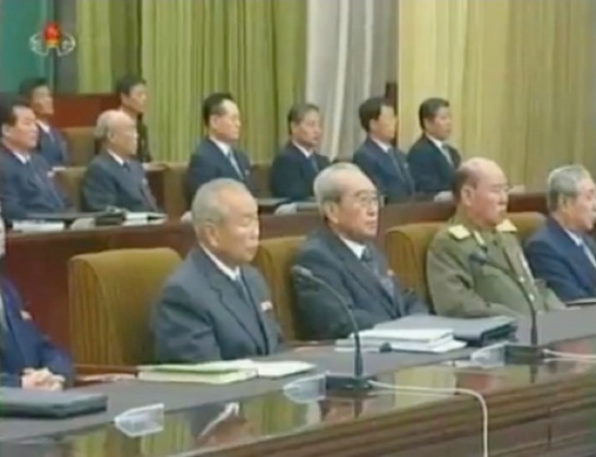 Gen Ri Myong Su (2nd R) attend a forestry workers' meeting on 7 November 2012 (Photo: KCNA/KCTV still)