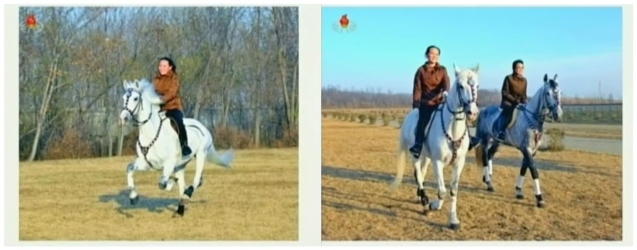 Kim Yo Jong (L) attending her older brother Kim Jong Un's visit to the KPA Equestrian company (currently known as the Mirim Riding Club) in November 2012.  In the image on the right she is seen riding along side her aunt, KWP Secretary Kim Kyong Hui (Photos: KCTV screengrabs)