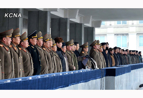 Members of the DPRK central leadership attend a mass army-people unity rally in Pyongyang celebrating the 12 December 2012 launch of the U'nha-3 rocket