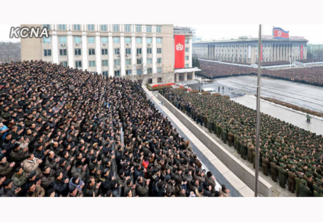 Mass rally in Pyongyang on 12 December 2012 celebrating the launch of the U'nha-3 (Photo: KCNA)