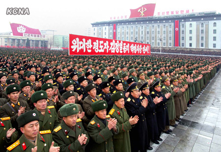 KPA service members and officers applaud during a 14 December 2012 rally celebrating the launch of the U'nha-3 rocket (Photo: KCNA)