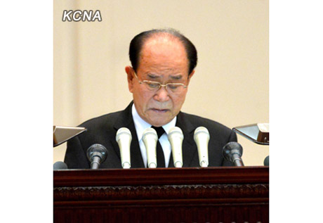 Kim Yong Nam delivers the keynote memorial speech during a national memorial service commemorating the first anniversary of the death of DPRK leader Kim Jong Il (Photo: KCNA)