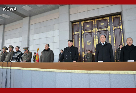 Choe Ryong Hae (4th L) delivers a speech during a ceremony opening the renovated Ku'msusan Memorial Palace, where the remains of the late leader Kim Jong were put on public display for the first time since his funeral in December 2011.  Also seen in attendance are Kim Jong Un (3rd R), Kim Yong Nam (2nd R) and Choe Yong Rim (R) (Photo: KCNA)