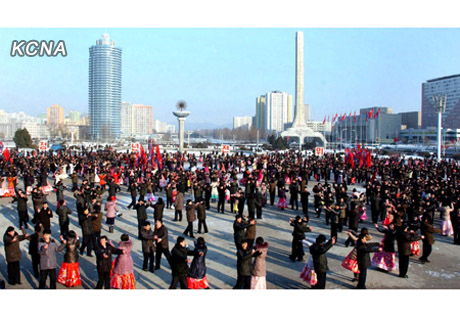 A 24 December 2012 dance party on the plaza in front of 25 April House of Culture (Photo: KCNA)