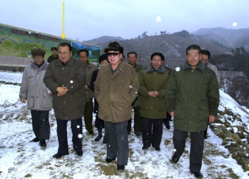 Ri Tae Nam attends KJI's inspection of the Kumjin River Power station in November 2000 (Photo: Rodong Sinmun)