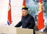 Kim Jong Un delivers a congratulatory address at a banquet hosted on 21 December 2012 by the KWP Central Committee for scientists and personnel who participated in the 12 December 2012 launch of the U'nha-3 rocket and Kwangmyo'ngso'ng-3 satellite. (Photo: Rodong Sinmun)