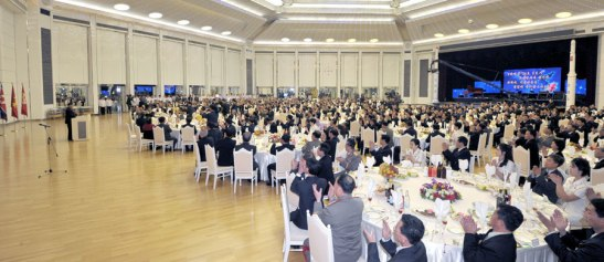 A view of the dining room at Mokran House as Kim Jong Un delivers a congratulatory speech to Korean Committee for Space Technology personnel who participated in the launch of the U'nha-3 carrier rocket on 12 December 2012 (Photo: Rodong Sinmun)