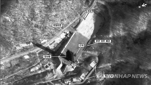 A satellite image shows North Korea is preparing fuel injection to fire off a long-range rocket in the launch site in the nation's northwestern area. (Yonhap)