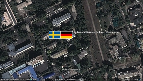 The compound containing the Embassy of Sweden and the Embassy of Germany in  Munsu-dong in east Pyongyang (Photo: Google image)
