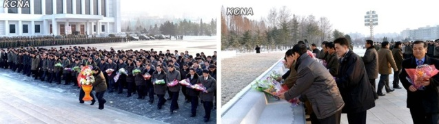 KCST personnel present flowers at the base of the Kim Il Sung and Kim Jong Il statues at the Ministry of People's Armed Forces (Photos: KCNA)