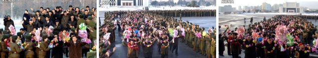 MPAF personnel present floral bouquets and wreaths to participants and contributors to the 12 December 2012 launch of the U'nha-3 rocket (Photos: KCNA)
