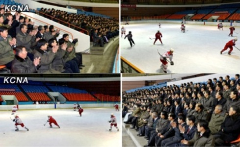 KCST personnel watch an ice hockey game at the Ice Rink in central Pyongyang (Photos: KCNA)