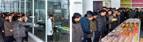 KCST personnel tour the Pyongyang Cornstarch Factory (L) and look at some of the factory's products (R) (Photos: KCNA)