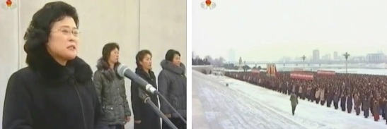 Korean Democratic Women's Union Central Committee Chair Ro Song Sil (L) speaks to a meeting of Pyongyang KDWU members (R) in front of the Chuch'e Tower in east Pyongyang on 13 December 2012 (Photos: KCNA/KCTV screengrabs)