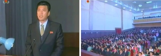 Union of Agricultural Workers of Korea Central Committee Chairman Ri Myong Gil (L) speaks to a meeting of agricultural workers (R) at Migok Cooperative Farm in Sariwo'n on 12 December 2012 (Photo: KCNA/KCTV screengrabs)