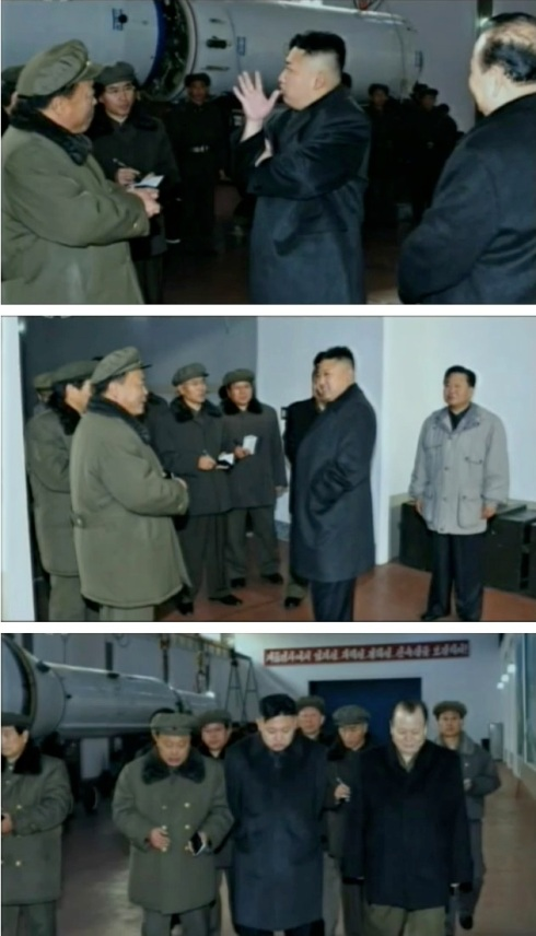 Kim Jong Un tours a facility containing the U'nha-3 rocket (or a replica thereof) (Photos: KCTV screengrabs)