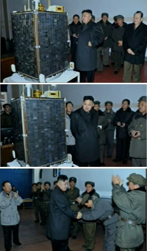 KCST managers brief KJU on the Kwangmyo'ngso'ng-3 satellite (Photos: KCTV screengrabs)