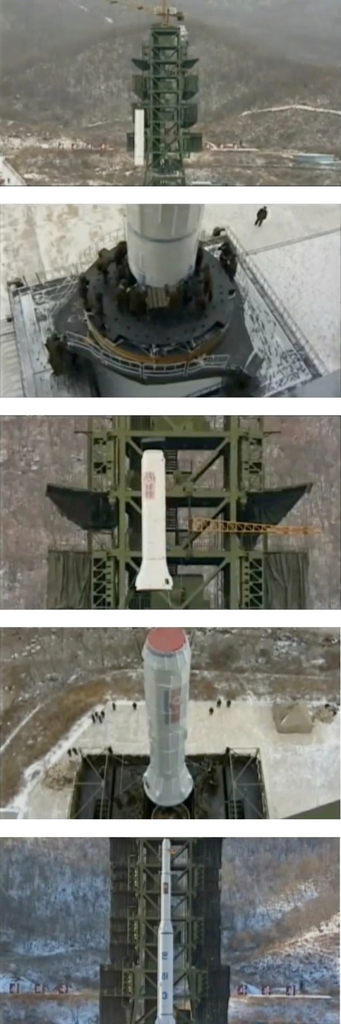 The film shows various stages of the U'nha-3 rocket's assembly on the launch pad (Photos: KCTV screengrabs)