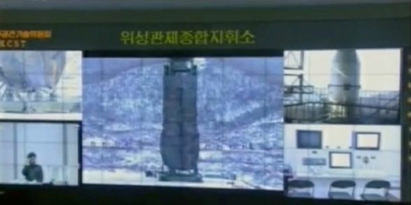 A monitor at the General Satellite Control and Command Center in Pyongyang showing the Sohae Space Center in Tongch'ang-ri, Ch'o'lsan County, North P'yo'ngan Province (Photo: KCTV screengrab)