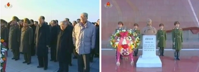 Members of the DPRK leadership Gen. Kim Kyo'k-sik, Gen. Choe Yong Hae, Kim Yong Nam, Choe Yong Rim, Kim Ki Nam visit Kim Jong Suk's grave on 24 December 2012 (Photos: KCTV screengrabs)