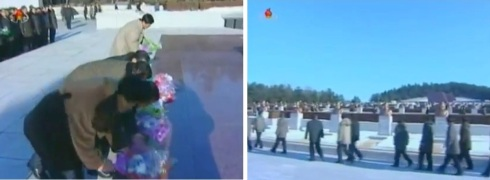 Scientists, technicians and other personnel who participated in the 12 December U'nha-3 launch deliver flowers and visit the Revolutionary Martyrs Cemetery on Mt. Taeso'ng in Pyongyang on 24 December 2012 (Photos: KCTV screengrabs)