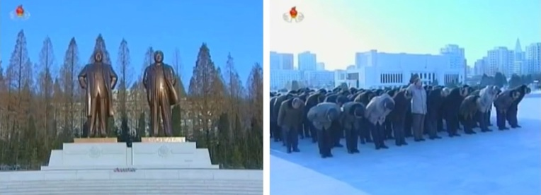 DPRK leadership (R) pay their respects to statues of Kim Il Sung and Kim Jong Il (L) at the Ministry of the People's Armed Forces on 23 December 2012 (Photos: KCTV screengrabs)