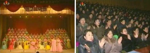 A 23 December 2012 concert in Hoeryo'ng City by the Hoeryo'ng chapter of the KDWU to commemorate the 95th anniversary of Kim Jong Suk's birth and the 21st anniversary of KJI's appointment as KPA Supreme Commander (Photos: KCTV screengrabs)