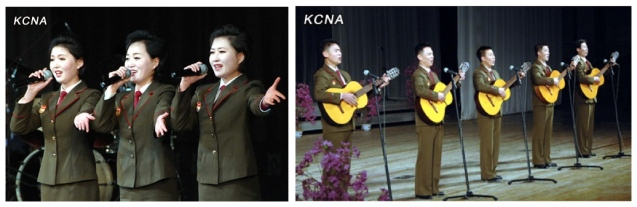 Performances from a 24  December concert by the art propaganda squad of the KIS Youth League at the Central Youth Hall in east Pyongyang to commemorate the 95th anniversary of Kim Jong Suk's birthday and the 21st anniversary of KJI's appointment as KPA Supreme Command (Photos: KCNA)