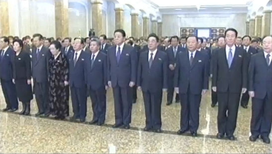 A group of KWP Department Directors and Deputy Directors.  Among those in this image are: Pak Pong Ju, L (Light Industry); Kim Jong Im, 4th L (Party History); Han Kwang Sang, 6th L (Finance);  Kim Kyong Ok, 7th L (Organization Guidance, Security Organs portfolio); Ri Ryong Ha, 4th R (Organization Guidance); Gen. Kim Myong Guk, 3rd R (KPA Supreme Command); Jon Il Chun, R (Finance) (Photo: KCTV/KCNA screengrab)