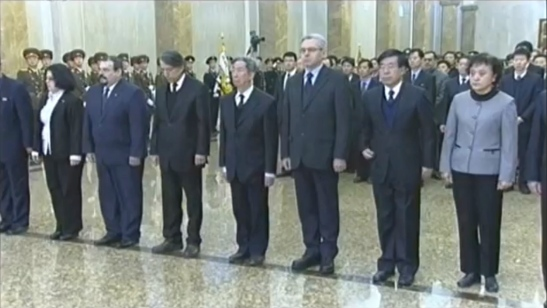 Foreign diplomats stationed in the DPRK.  Among those in this image are Alexandr Timonin, 3rd R, Russian Federation Ambassador to the DPRK and Liu Hongcai, 2nd R, PRC Ambassador to the DPRK (Photo: KCTV/KCNA screengrab)