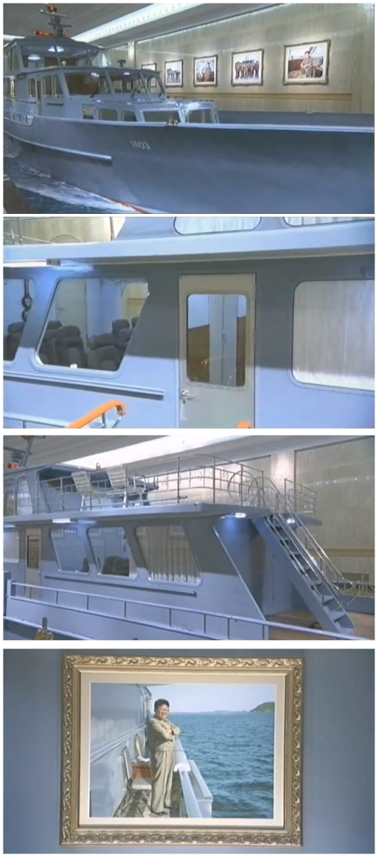Views of one of KJI's boats and a portrait photograph showing him on the boat's deck (Photos: KCTV/KCNA screengrab)