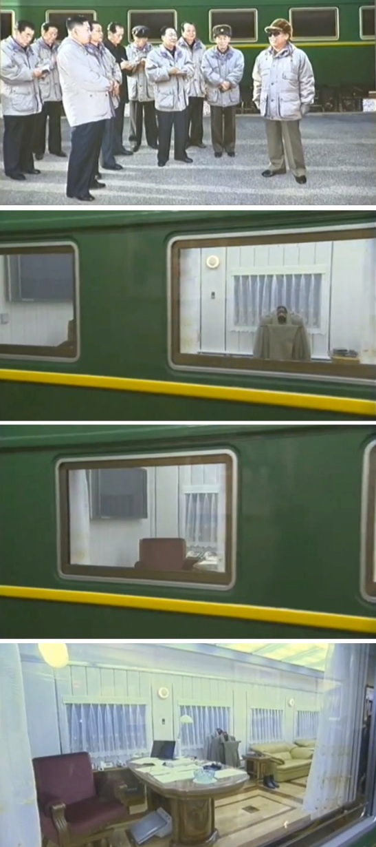 A portrait of KJI and core members of the DPRK leadership outside his customized armored train.  The bottom image shows KJI's office and quarters on the railway car (Photos: KCTV/KCNA screengrabs)