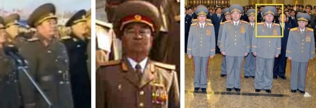Minister of the People's Armed Forces Gen. Kim Kyong Sik attends a KPA loyalty rally on 17 December 2012 (L), poses for a commemorative photograph in 2010 (C) and visits Ku'msusan on 24 December 2012 (Photos: Rodong Sinmun and KCTV screengrab)