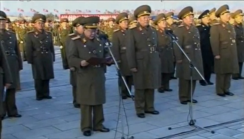 Choe Ryong Hae delivers a speech during a 17 December 2012 KPA memorial and loyalty rally in Ku'msusan Plaza.  Also seen in attendance is Hyon Yong Chol (3rd R) and Kim Kyong Sik (2nd R) (Photo: KCNA/KCTV screengrab)