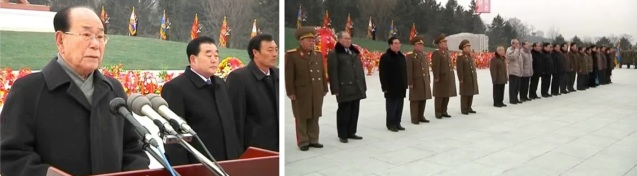 Kim Yong Nam (L) delivers a speech at the statues' unveiling ceremony in Hamhu'ng.  Central and local leadership (R) who attended the ceremony (Photos: Rodong Sinmun/KCNA screengrabs)