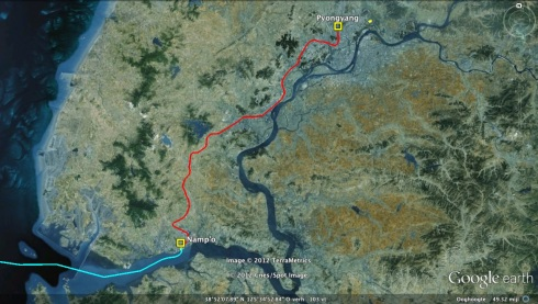 An estimate railway land route made from Namp'o Port to Pyongyang (Photo: Google images; route drawn by Michael Madden)